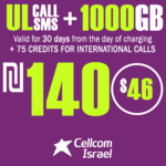 Cellcom Talkman Unlimited Local calls and SMS + 1000GB + 75 Credits for international calls for 30 Days