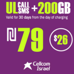 Cellcom Talkman Unlimited Local calls and SMS + 200GB for 30 Days