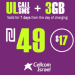 Cellcom Talkman Unlimited Local calls and SMS + 3GB for 7 Days