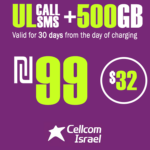 Cellcom Talkman Unlimited Local calls and SMS + 500GB for 30 Days