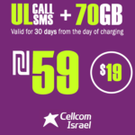 Cellcom Talkman Unlimited Local calls and SMS + 70GB for 30 Days