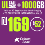 Cellcom Israel Phone Number with Unlimited Local calls and SMS + 1000GB + 75 Credits for international calls for 30 Days