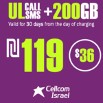 Cellcom Israeli Phone Number with Unlimited Local calls and SMS + 200GB for 30 Days