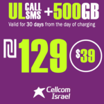 Cellcom Israeli Phone Number with Unlimited Local calls and SMS + 500GB for 30 Days
