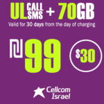 Cellcom Israeli Phone Number with Unlimited Local calls and SMS + 70GB for 30 Days