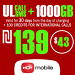 Recharge Hot Mobile Plan - Unlimited Calls and SMS + 1000GB + 100 Credits for International Calls for 30 Days