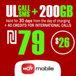 Recharge Hot Mobile Plan - Unlimited Local calls and SMS + 200GB + 40 Credits for International Calls for 30 Days