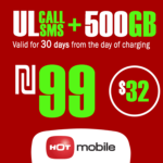 Recharge Hot Mobile Plan - Unlimited Local calls and SMS + 500GB for 30 Days