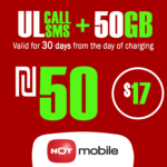 Recharge Hot Mobile Plan - Unlimited Local calls and SMS + 50GB for 30 Days