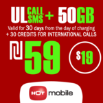 Recharge Hot Mobile Plan - Unlimited Local calls and SMS + 50GB + 30 Credits for International Calls for 30 Days