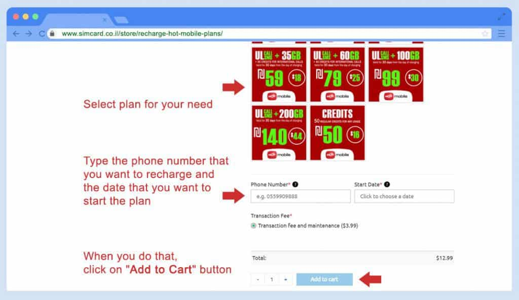 recharge hot mobile plans - step 2