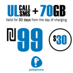 Pelephone Prepaid SIM Card - Unlimited Local calls and SMS + 70GB for 30 Days