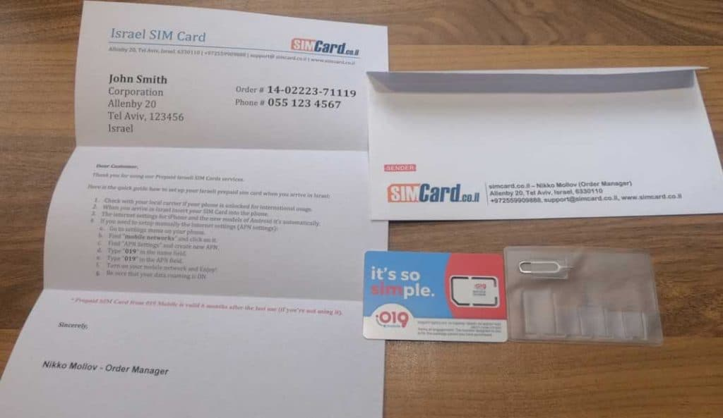 019 paquete de tarjeta SIM prepagada móvil