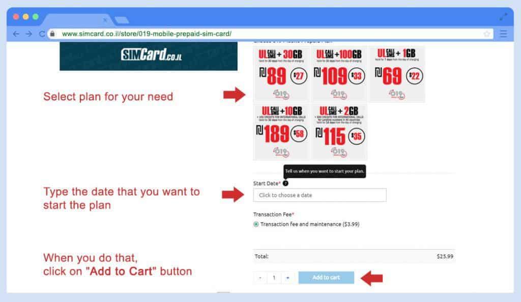 019 mobile prepagata sim card Ordine Passo 2