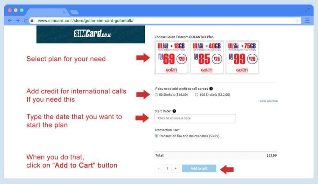 Golan Telecom SIM Card golantalk sim card order Step 2