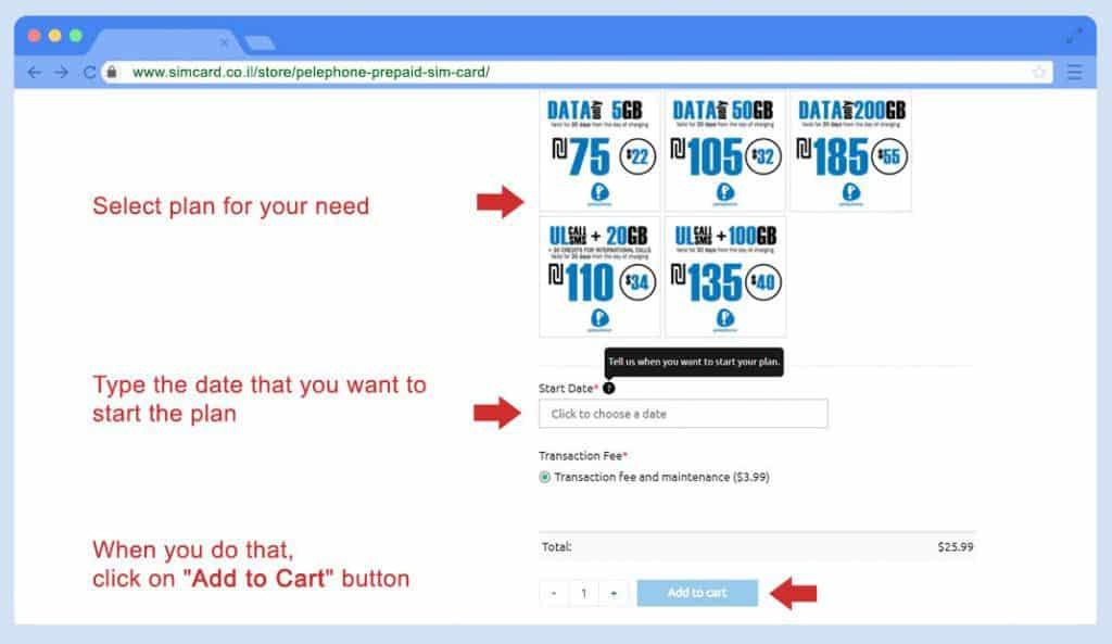Buy Pelephone Prepaid SIM card - Step 1